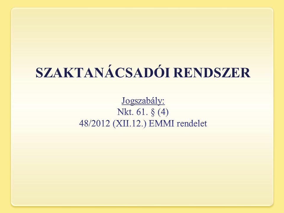 Jogszabály: Nkt. 61. § (4) 48/2012 (XII.12.) EMMI rendelet