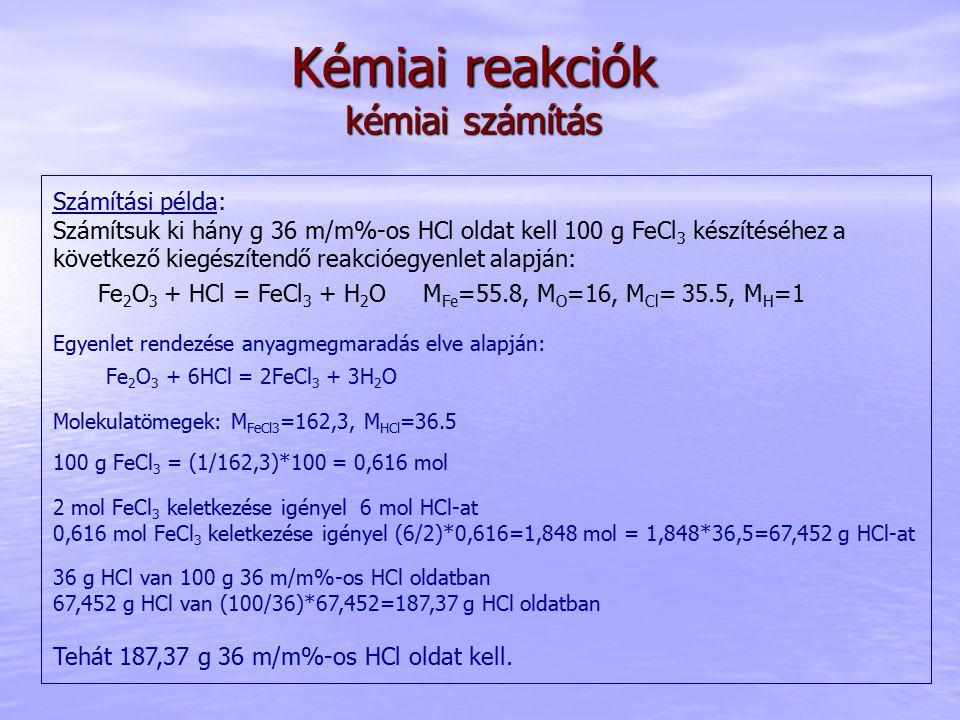 Kémiai reakciók kémiai számítás