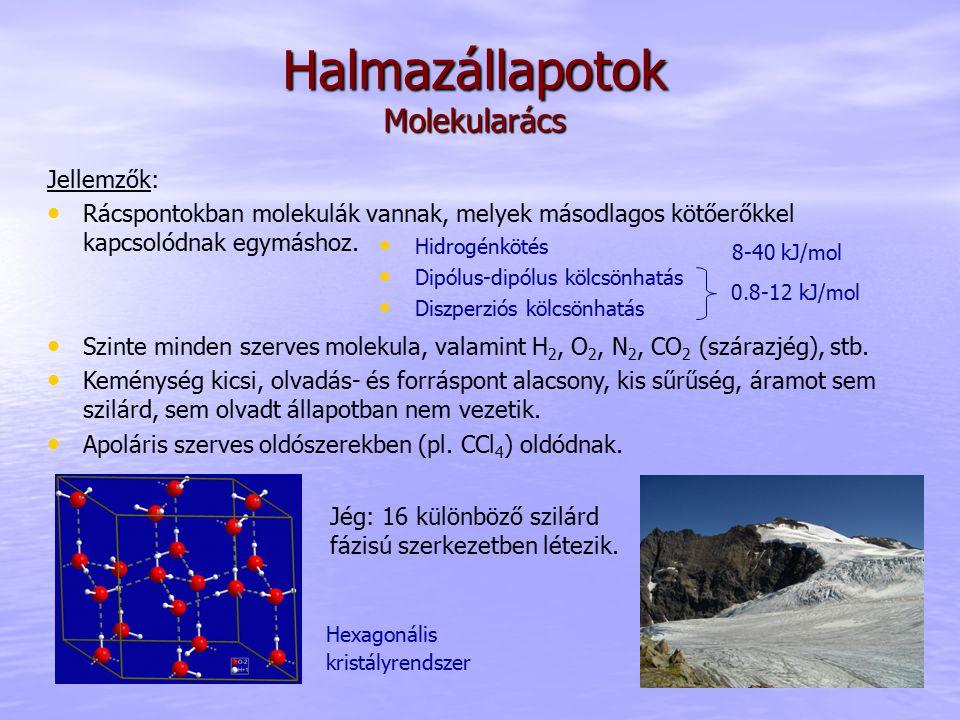 Halmazállapotok Molekularács