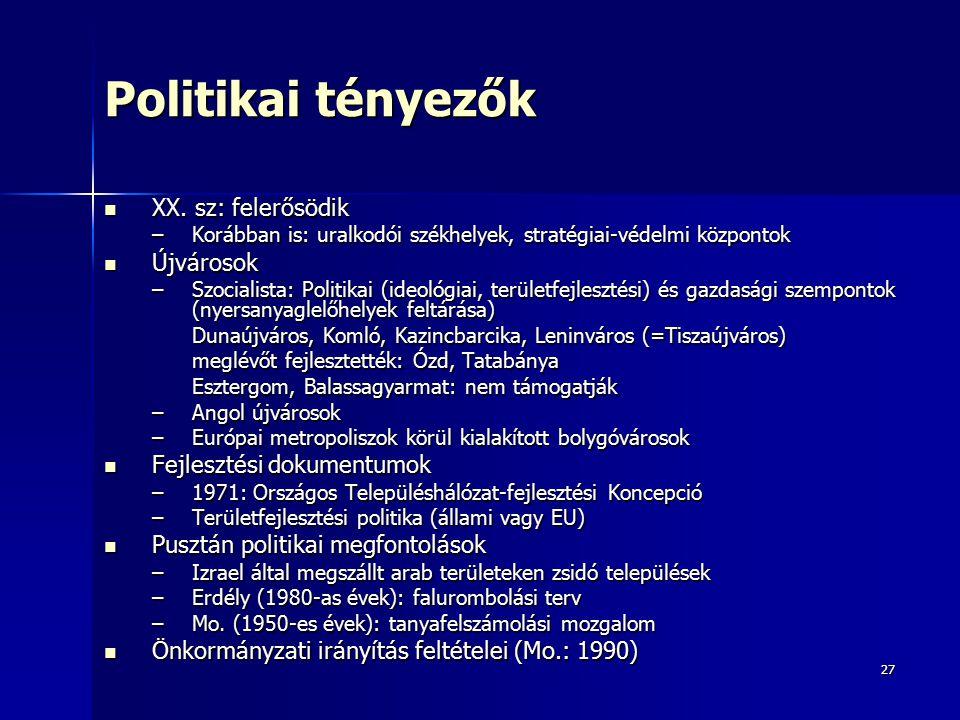 Politikai tényezők XX. sz: felerősödik Újvárosok