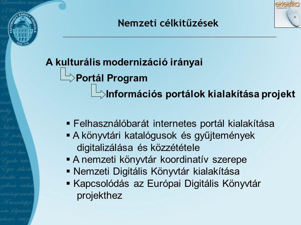 Nemzeti célkitűzések A kulturális modernizáció irányai. Portál Program. Információs portálok kialakítása projekt.