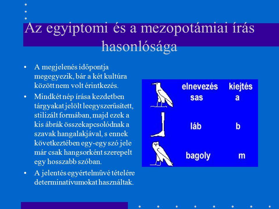 Az egyiptomi és a mezopotámiai írás hasonlósága