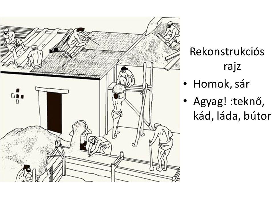 Rekonstrukciós rajz Homok, sár Agyag! :teknő, kád, láda, bútor