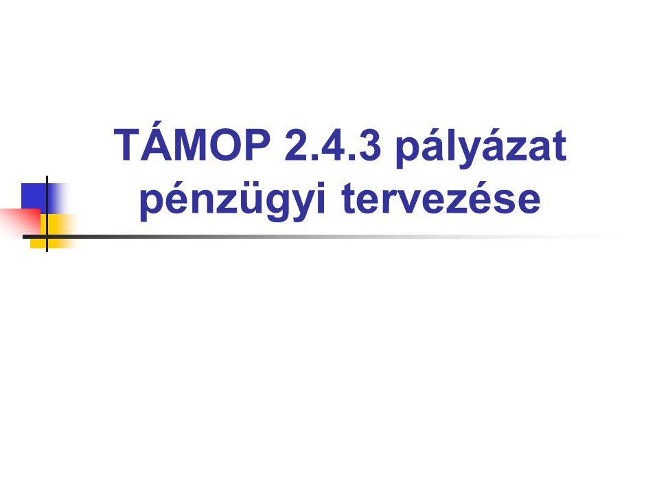 TÁMOP 2.4.3 pályázat pénzügyi tervezése
