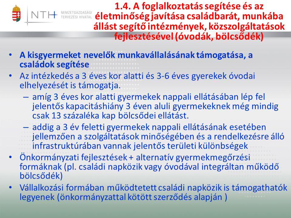 1.4. A foglalkoztatás segítése és az életminőség javítása családbarát, munkába állást segítő intézmények, közszolgáltatások fejlesztésével (óvodák, bölcsődék)
