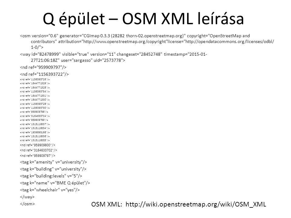 Q épület – OSM XML leírása