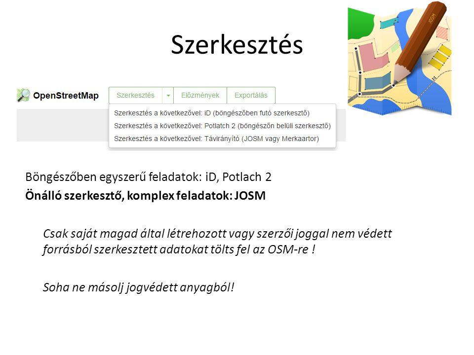 Szerkesztés Böngészőben egyszerű feladatok: iD, Potlach 2