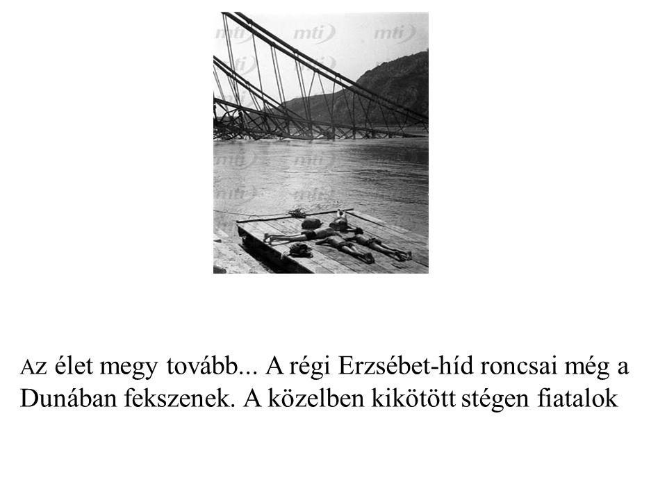 Az élet megy tovább... A régi Erzsébet-híd roncsai még a Dunában fekszenek.