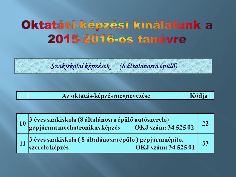 Oktatási-képzési kínálatunk a 2015-2016-os tanévre