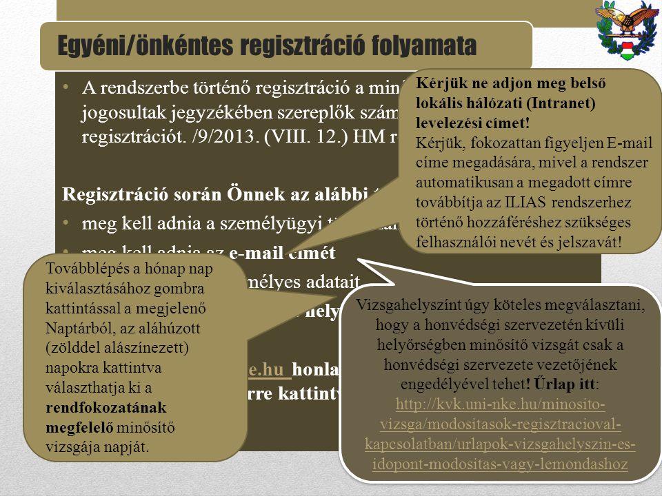 Egyéni/önkéntes regisztráció folyamata