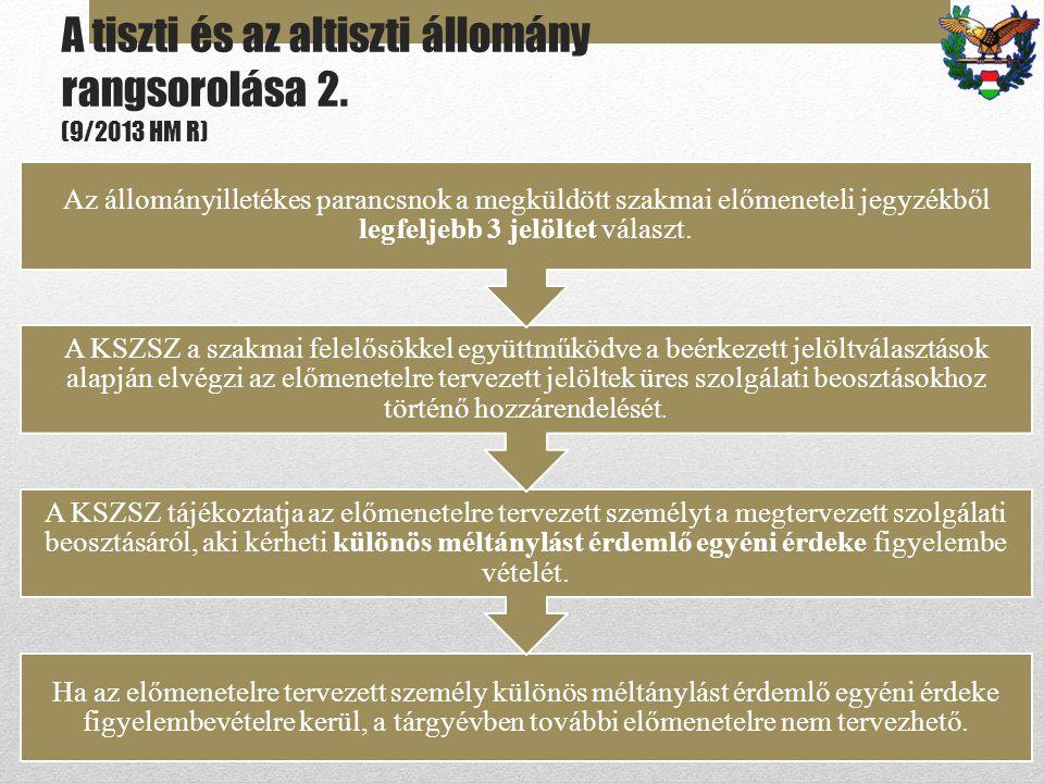 A tiszti és az altiszti állomány rangsorolása 2. (9/2013 HM R)