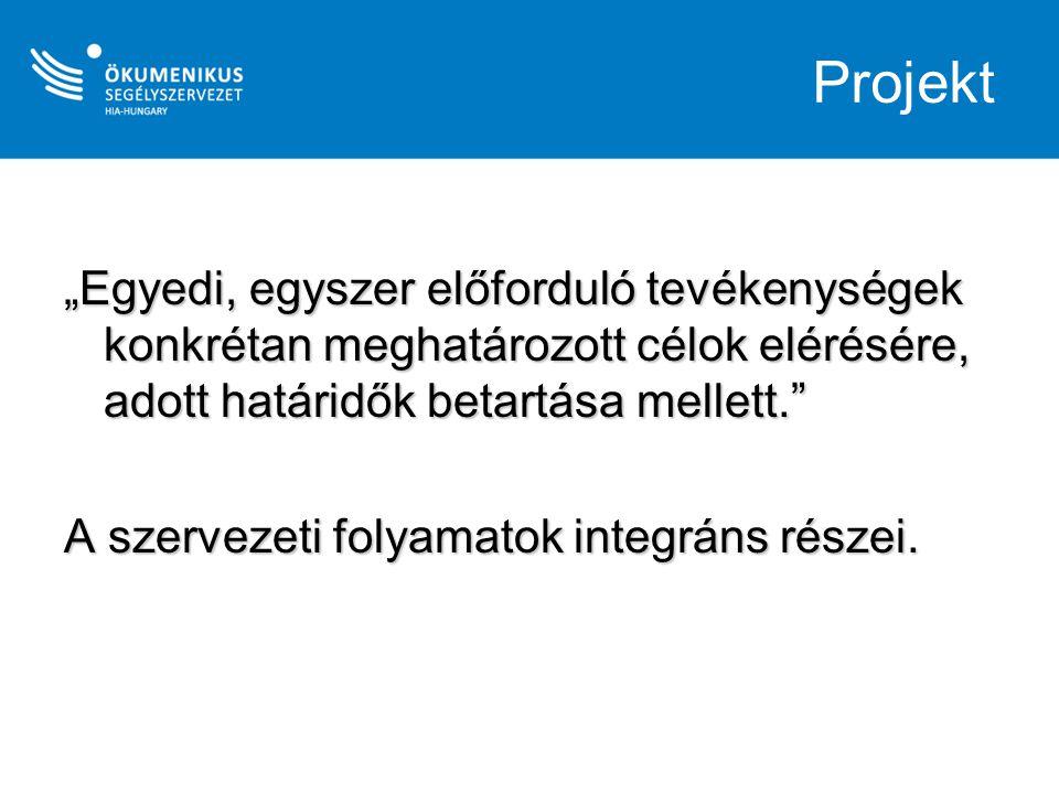 """Projekt """"Egyedi, egyszer előforduló tevékenységek konkrétan meghatározott célok elérésére, adott határidők betartása mellett."""