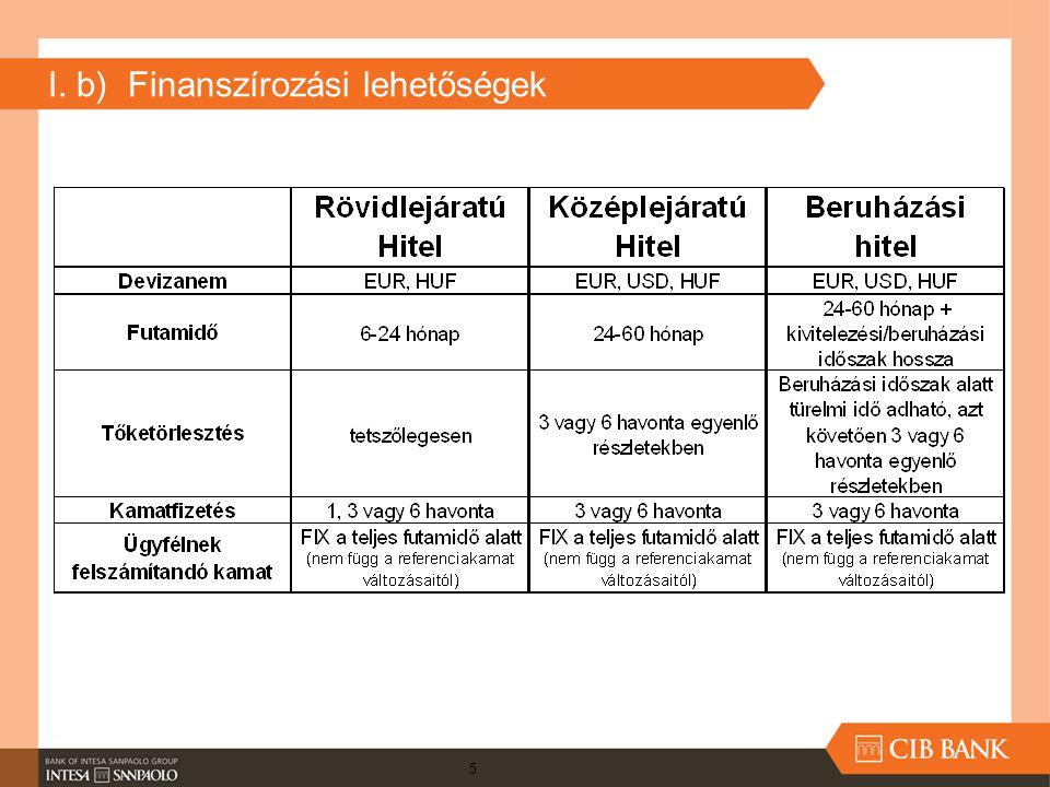 I. b) Finanszírozási lehetőségek