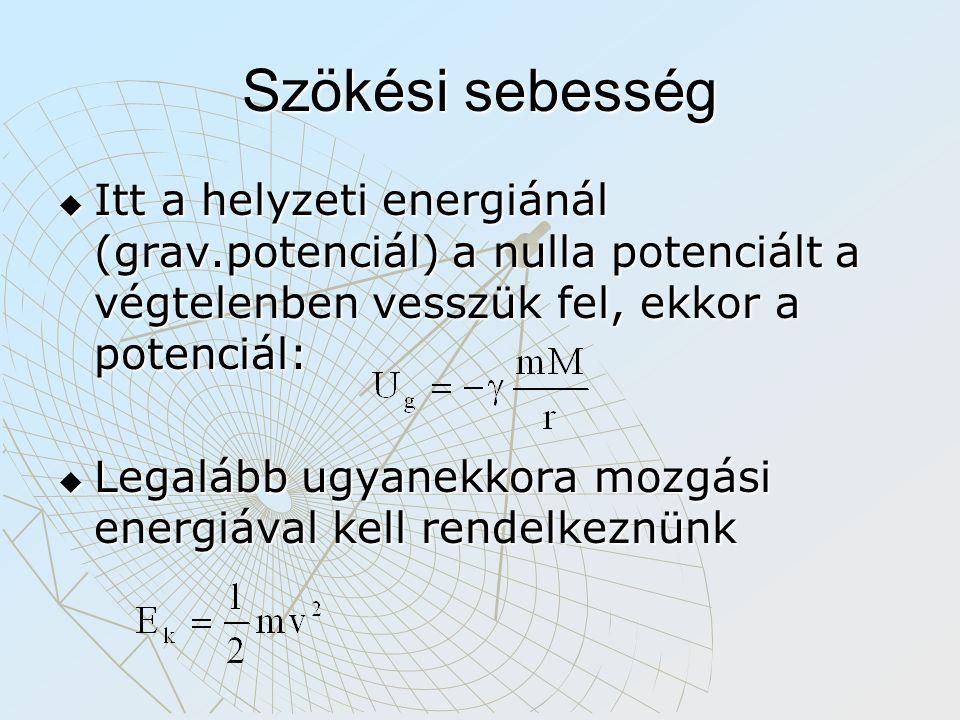 Szökési sebesség Itt a helyzeti energiánál (grav.potenciál) a nulla potenciált a végtelenben vesszük fel, ekkor a potenciál: