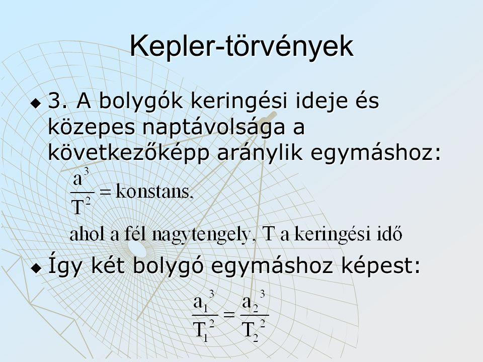 Kepler-törvények 3. A bolygók keringési ideje és közepes naptávolsága a következőképp aránylik egymáshoz:
