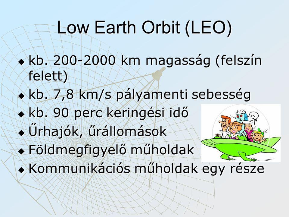 Low Earth Orbit (LEO) kb. 200-2000 km magasság (felszín felett)