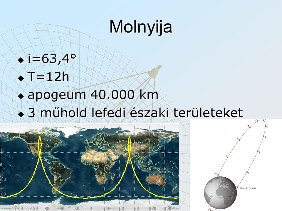 Molnyija i=63,4° T=12h apogeum 40.000 km