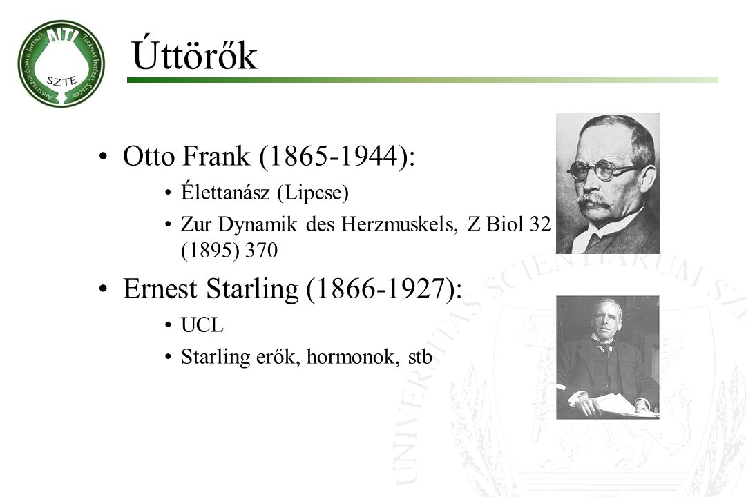 Úttörők Otto Frank (1865-1944): Ernest Starling (1866-1927):