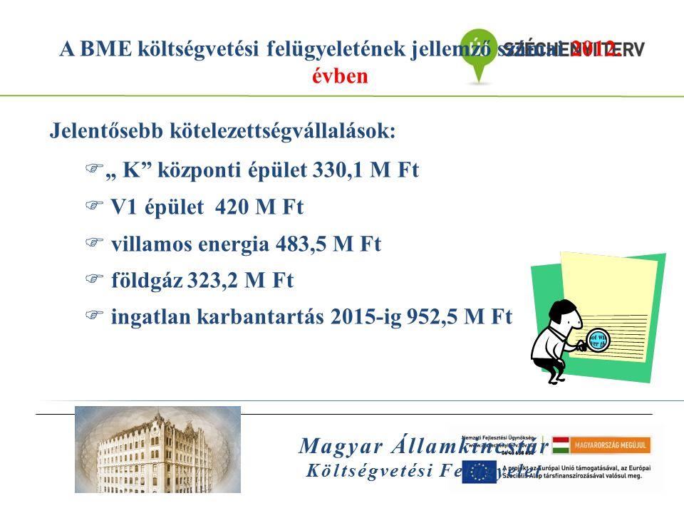 A BME költségvetési felügyeletének jellemző számai 2012. évben