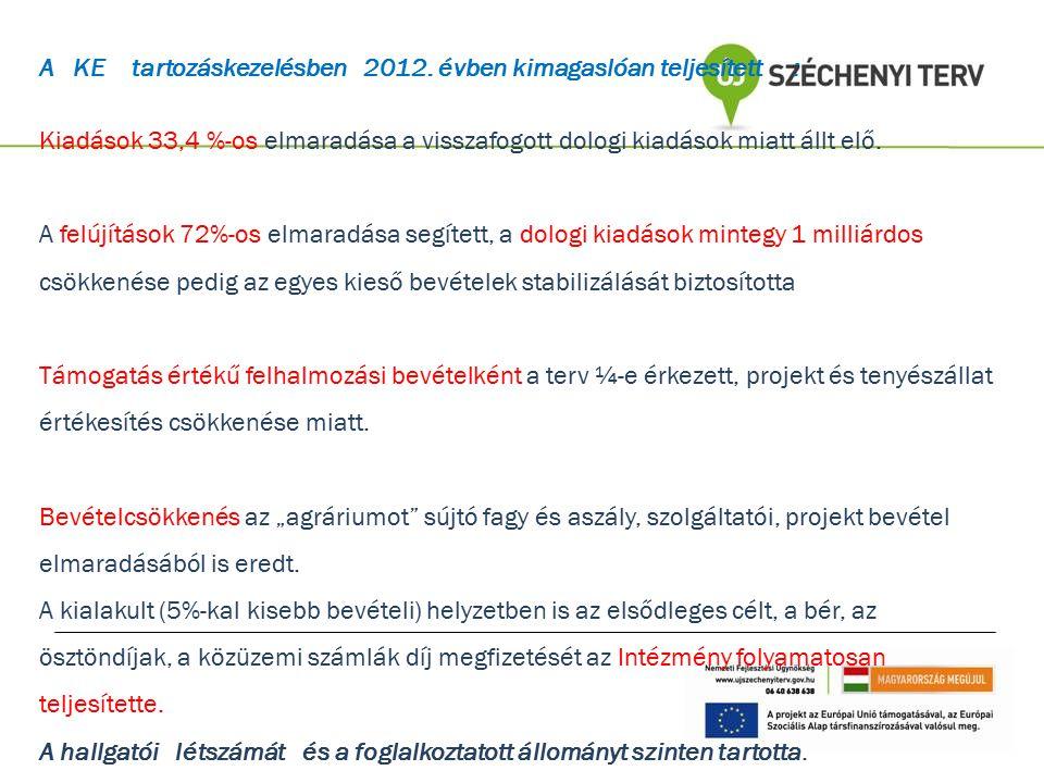 A KE tartozáskezelésben 2012. évben kimagaslóan teljesített :