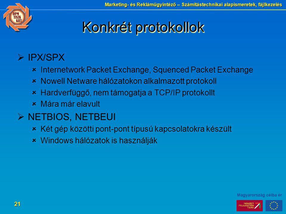 Konkrét protokollok IPX/SPX NETBIOS, NETBEUI