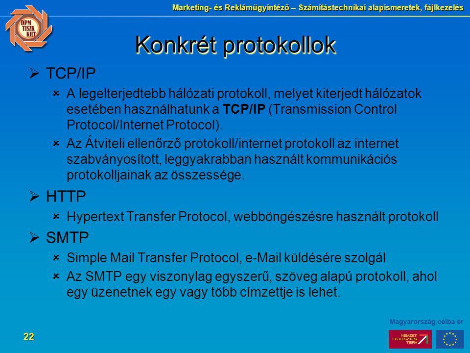 Konkrét protokollok TCP/IP HTTP SMTP