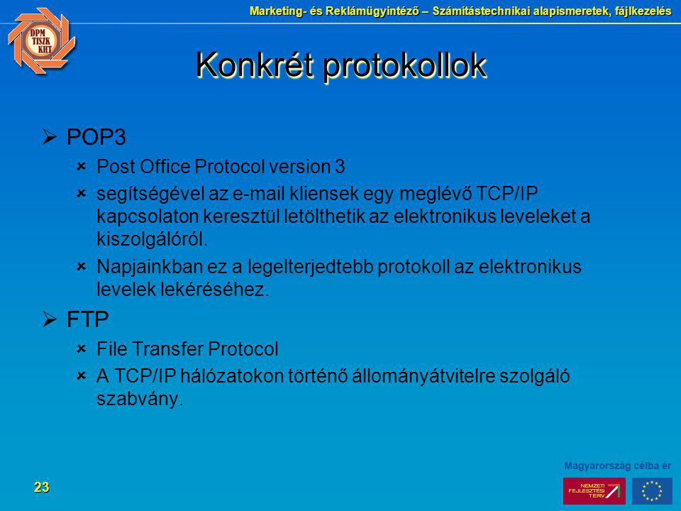 Konkrét protokollok POP3 FTP Post Office Protocol version 3