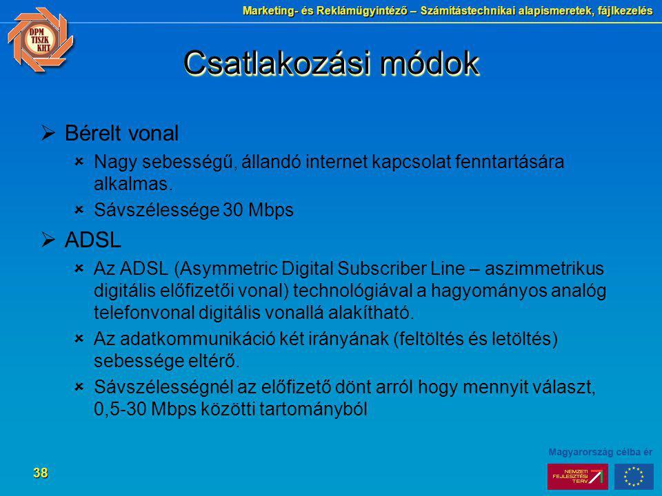 Csatlakozási módok Bérelt vonal ADSL