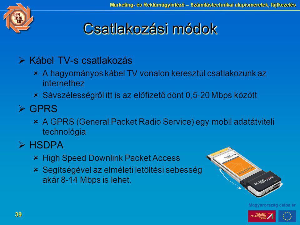Csatlakozási módok Kábel TV-s csatlakozás GPRS HSDPA