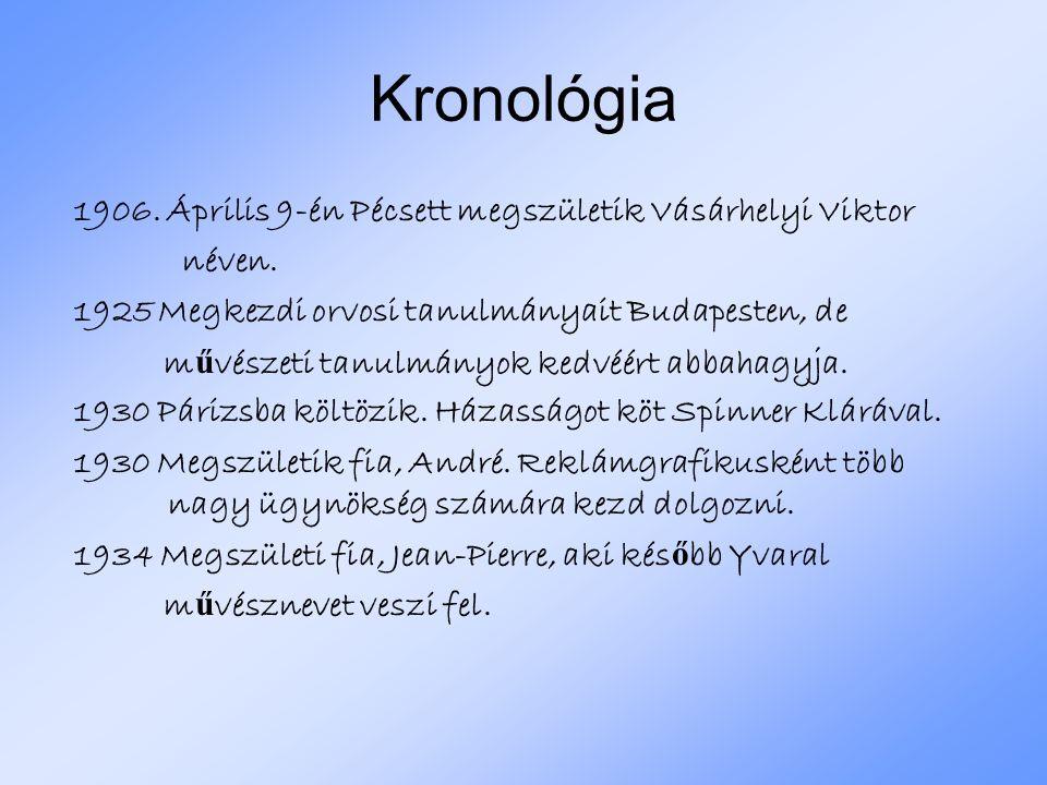 Kronológia 1906. Április 9-én Pécsett megszületik Vásárhelyi Viktor