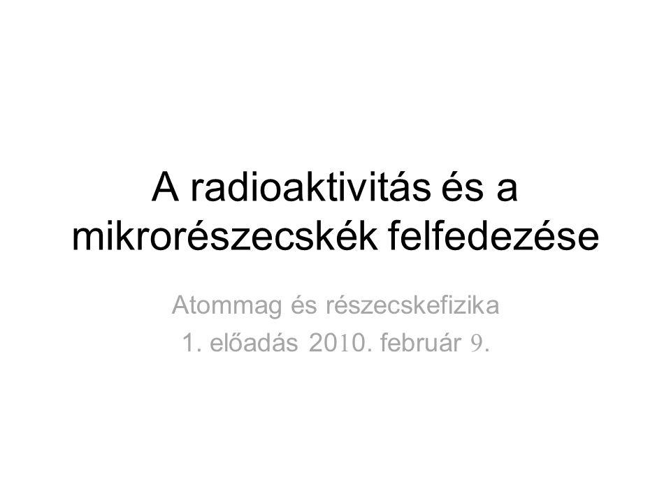 A radioaktivitás és a mikrorészecskék felfedezése