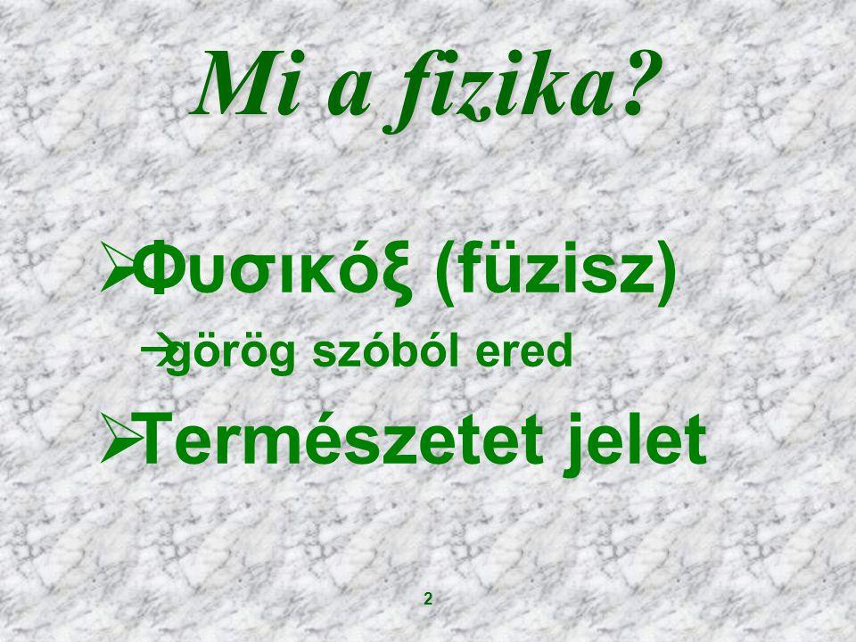 Mi a fizika Φυσικόξ (füzisz) görög szóból ered Természetet jelet 2