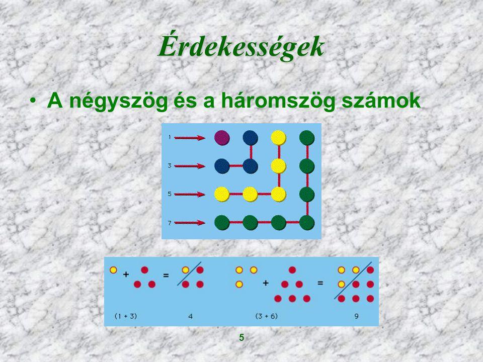 Érdekességek A négyszög és a háromszög számok 5