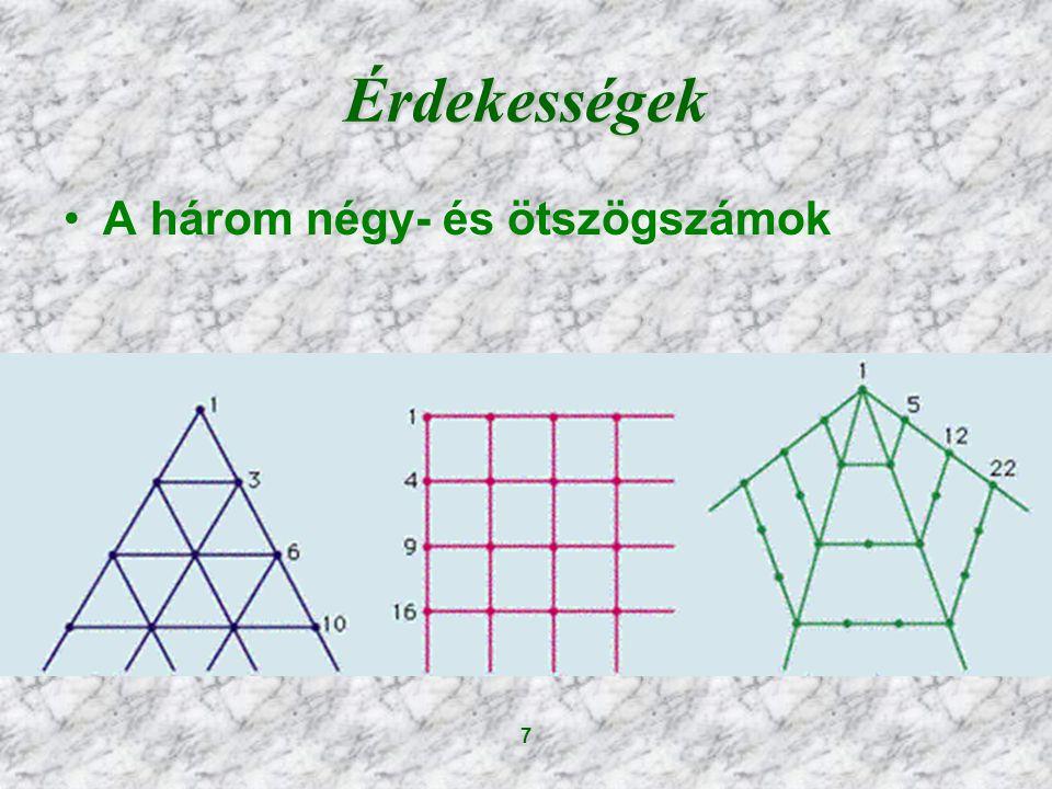 Érdekességek A három négy- és ötszögszámok 7