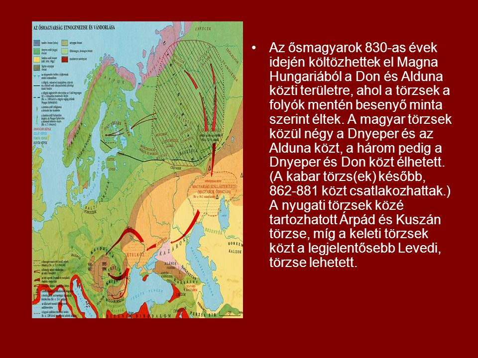Az ősmagyarok 830-as évek idején költözhettek el Magna Hungariából a Don és Alduna közti területre, ahol a törzsek a folyók mentén besenyő minta szerint éltek.
