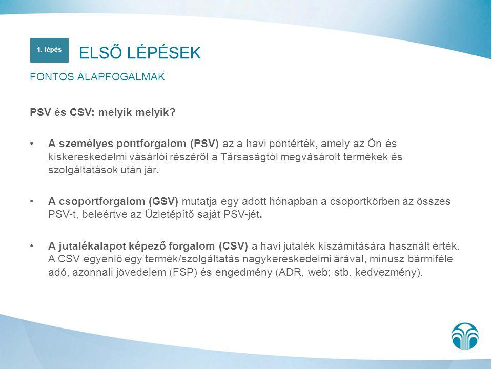 ELSŐ LÉPÉSEK FONTOS ALAPFOGALMAK PSV és CSV: melyik melyik