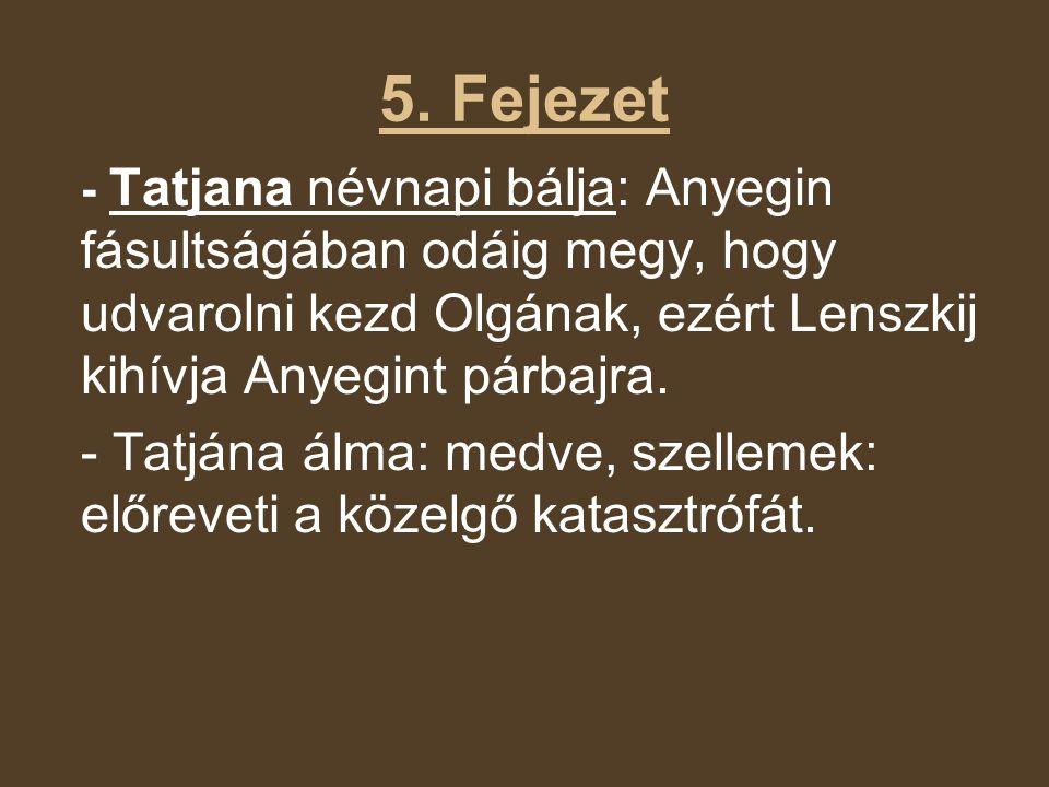 5. Fejezet - Tatjana névnapi bálja: Anyegin fásultságában odáig megy, hogy udvarolni kezd Olgának, ezért Lenszkij kihívja Anyegint párbajra.