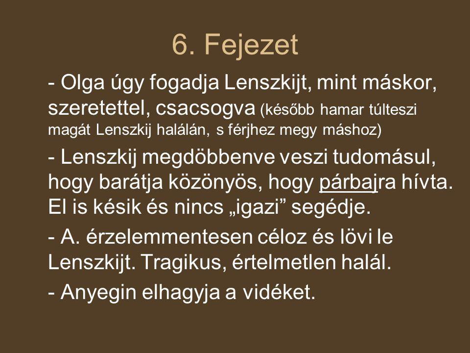 6. Fejezet - Olga úgy fogadja Lenszkijt, mint máskor, szeretettel, csacsogva (később hamar túlteszi magát Lenszkij halálán, s férjhez megy máshoz)