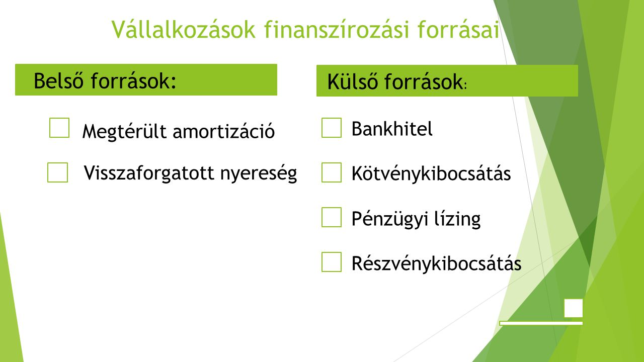 Vállalkozások finanszírozási forrásai