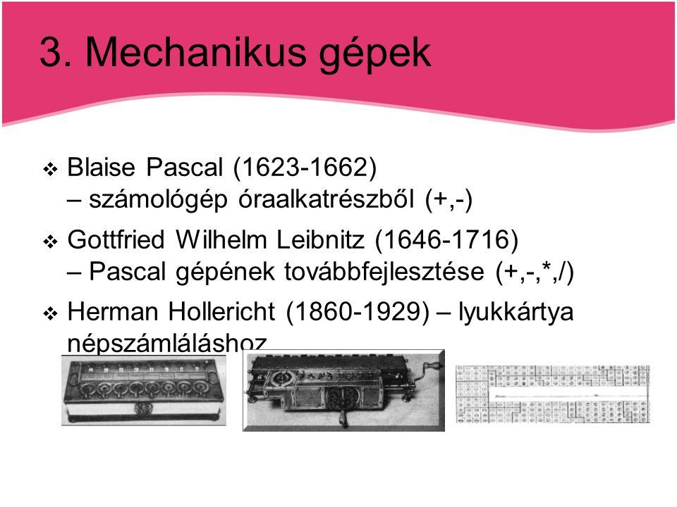 3. Mechanikus gépek Blaise Pascal (1623-1662) – számológép óraalkatrészből (+,-)