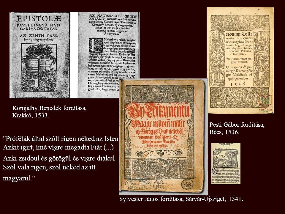 Komjáthy Benedek fordítása, Krakkó, 1533.