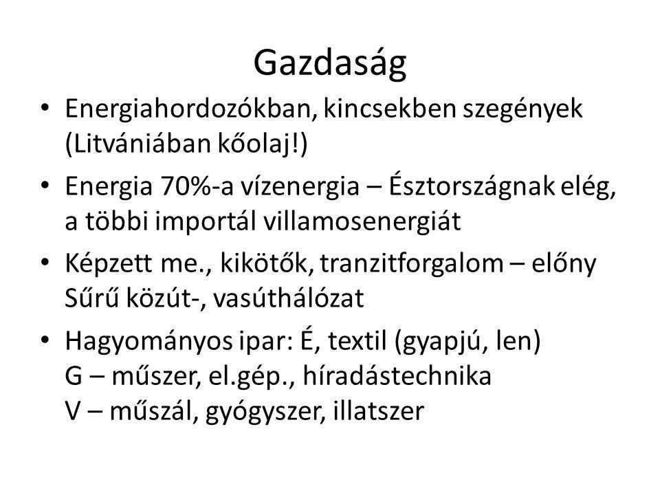 Gazdaság Energiahordozókban, kincsekben szegények (Litvániában kőolaj!)