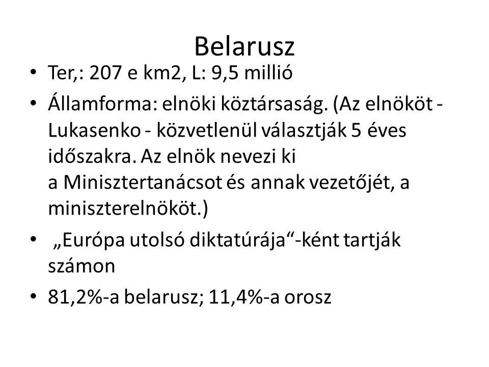 Belarusz Ter,: 207 e km2, L: 9,5 millió