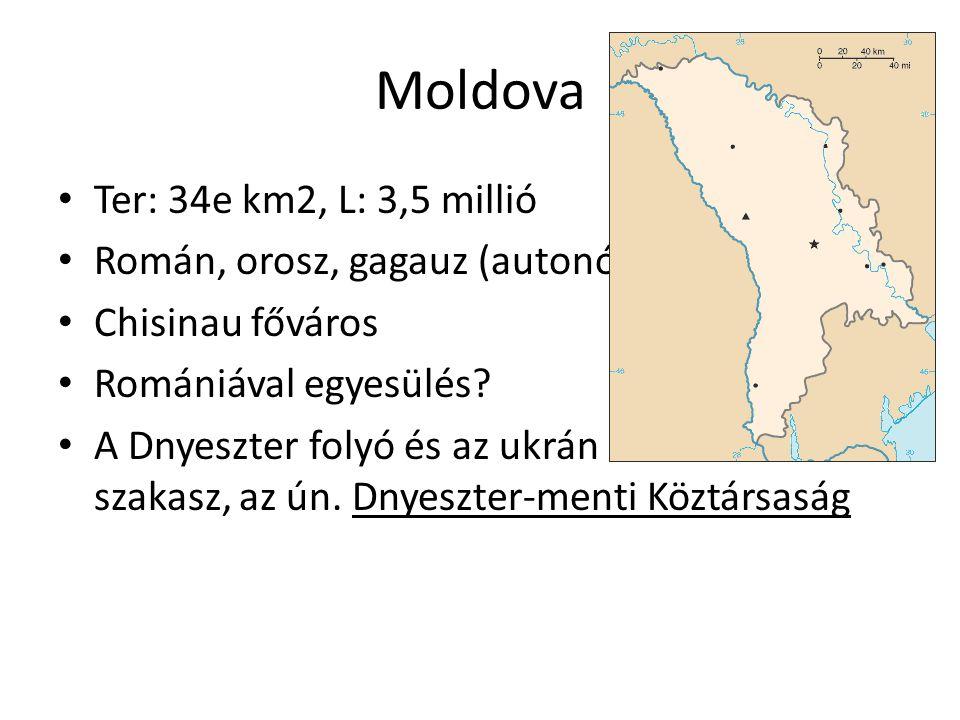 Moldova Ter: 34e km2, L: 3,5 millió Román, orosz, gagauz (autonóm)