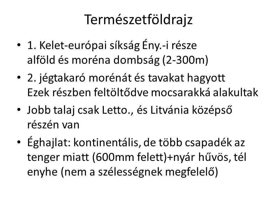 Természetföldrajz 1. Kelet-európai síkság Ény.-i része alföld és moréna dombság (2-300m)