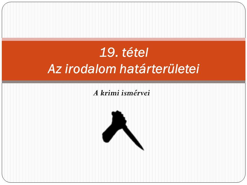 19. tétel Az irodalom határterületei