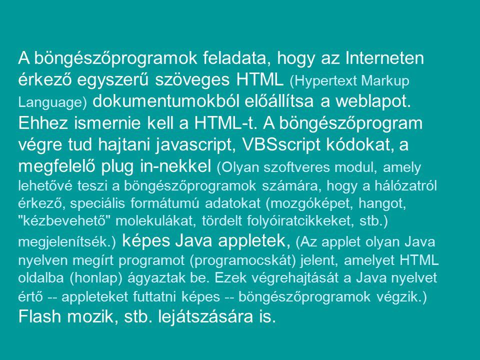 A böngészőprogramok feladata, hogy az Interneten érkező egyszerű szöveges HTML (Hypertext Markup Language) dokumentumokból előállítsa a weblapot.