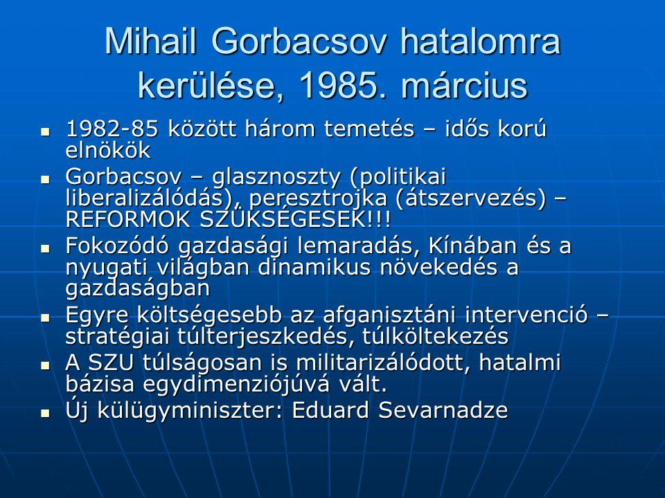 Mihail Gorbacsov hatalomra kerülése, 1985. március