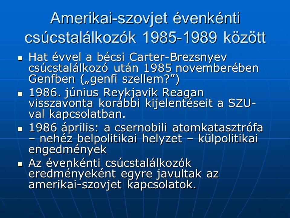 Amerikai-szovjet évenkénti csúcstalálkozók 1985-1989 között