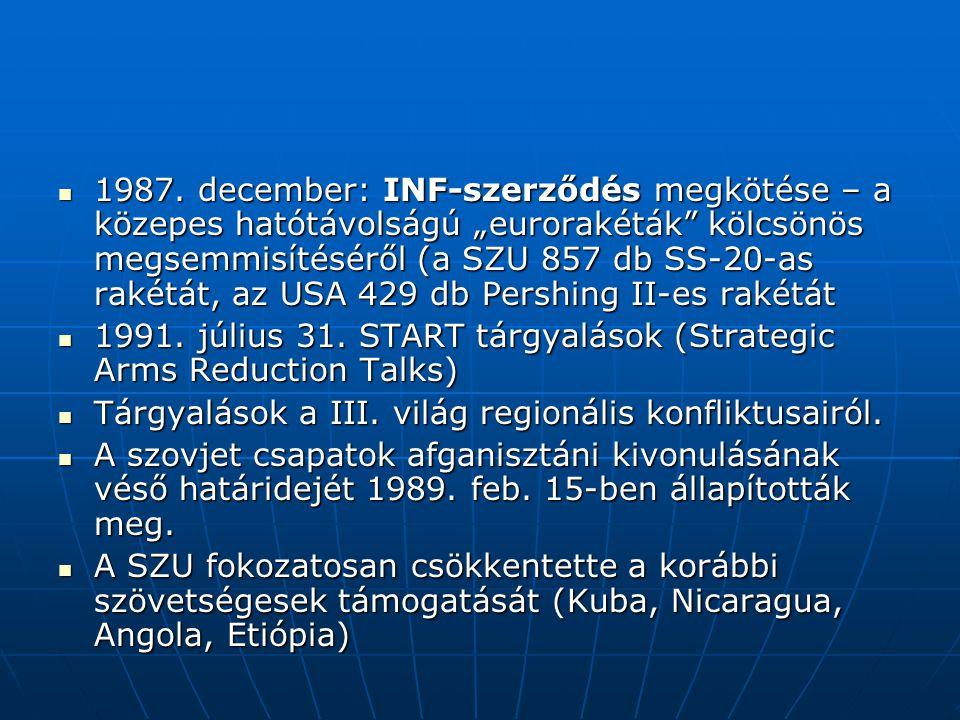 """1987. december: INF-szerződés megkötése – a közepes hatótávolságú """"eurorakéták kölcsönös megsemmisítéséről (a SZU 857 db SS-20-as rakétát, az USA 429 db Pershing II-es rakétát"""